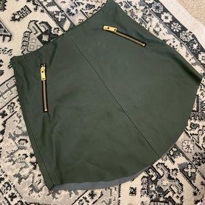 Dark green Zara vegan leather mini skirt size xs